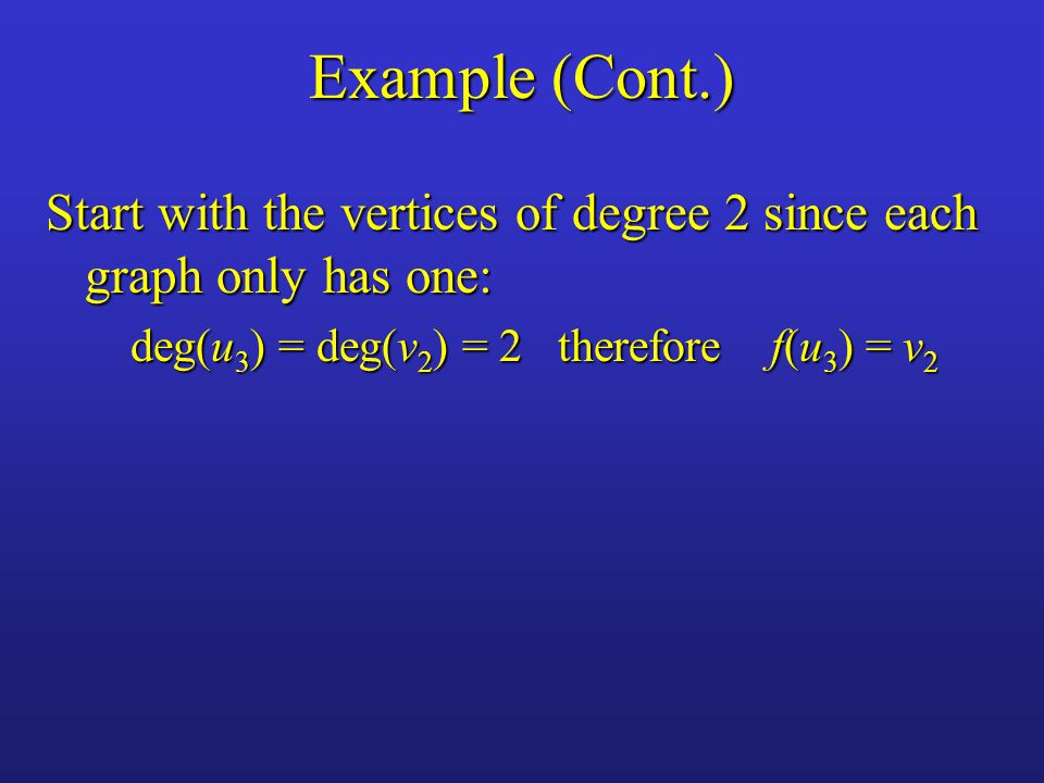 Example (Cont.) Start with the vertices of degree 2 since each graph only has one: deg(u 3 ) = deg(v 2 ) = 2 therefore f(u 3 ) = v 2