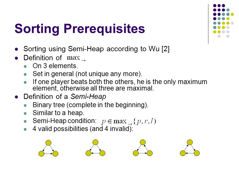 Sorting Prerequisites Sorting using Semi-Heap according to Wu [2] Definition of On 3 elements. Set in general (not unique any more). If one player bea