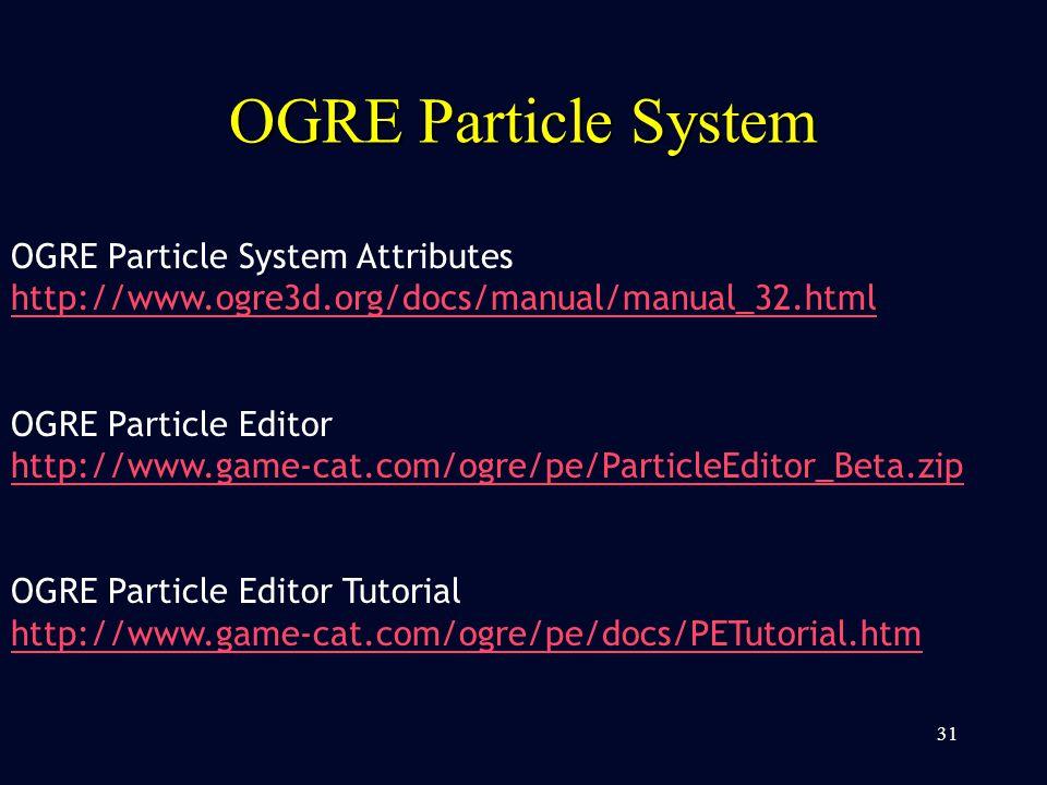 OGRE Particle System 31 OGRE Particle System Attributes http://www.ogre3d.org/docs/manual/manual_32.html OGRE Particle Editor http://www.game-cat.com/ogre/pe/ParticleEditor_Beta.zip OGRE Particle Editor Tutorial http://www.game-cat.com/ogre/pe/docs/PETutorial.htm