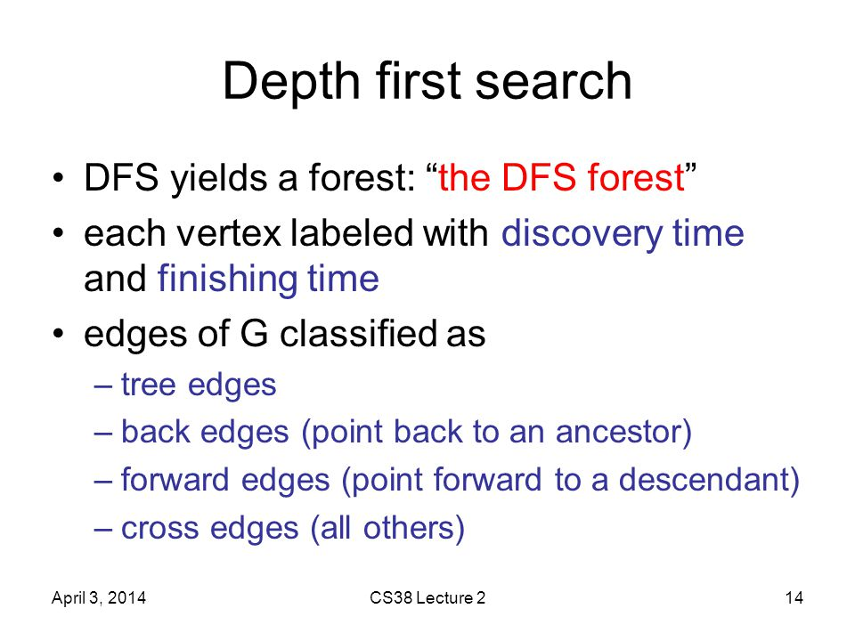 Depth first search DFS yields a forest: the DFS forest each vertex labeled with discovery time and finishing time edges of G classified as –tree edges –back edges (point back to an ancestor) –forward edges (point forward to a descendant) –cross edges (all others) April 3, 2014CS38 Lecture 214