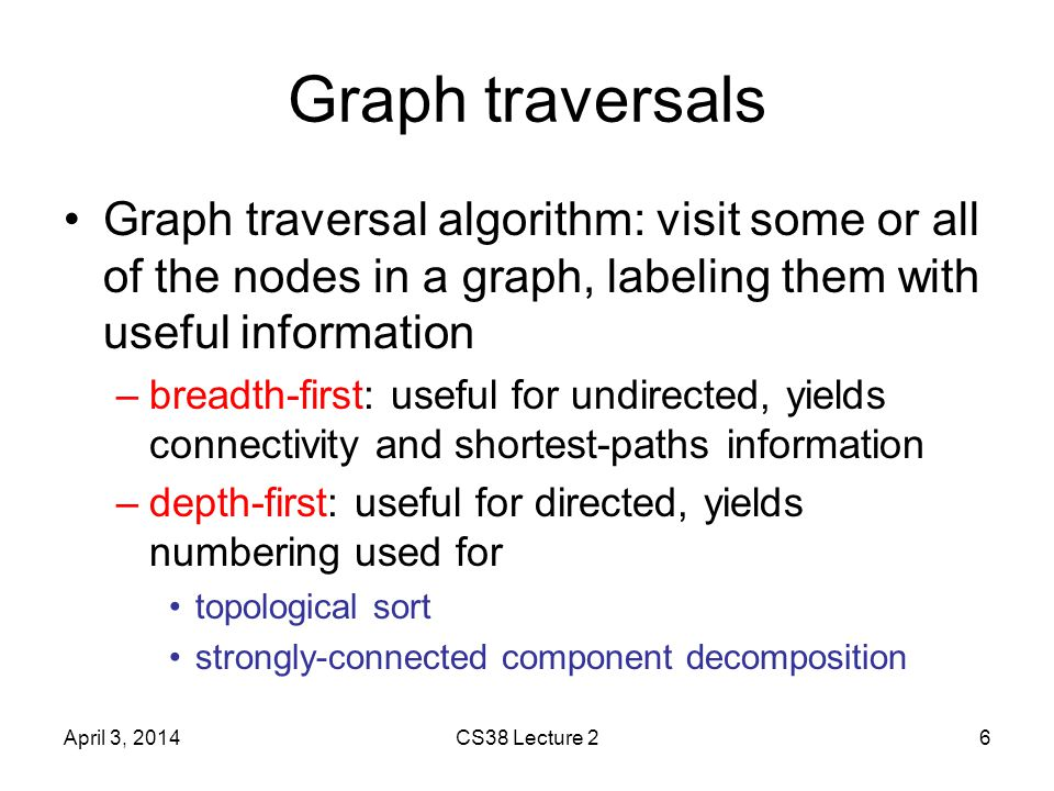 DFS application: topological sort Theorem: listing vertices in reverse order of DFS finishing times yields a topological sort of DAG G (can implement in linear time; how?) Proof: claim for all (u,v) 2 E, v.finish < u.finish –when (u,v) explored, v not grey since then G would have a cycle [back-edge] –v white ) descendent of u so v finishes first –v black ) already done, so v.finish is set and u.finish will be set with a later time April 3, 2014CS38 Lecture 217