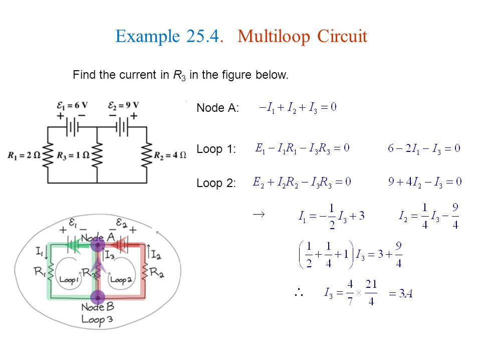 Example Multiloop Circuit Find the current in R 3 in the figure below.