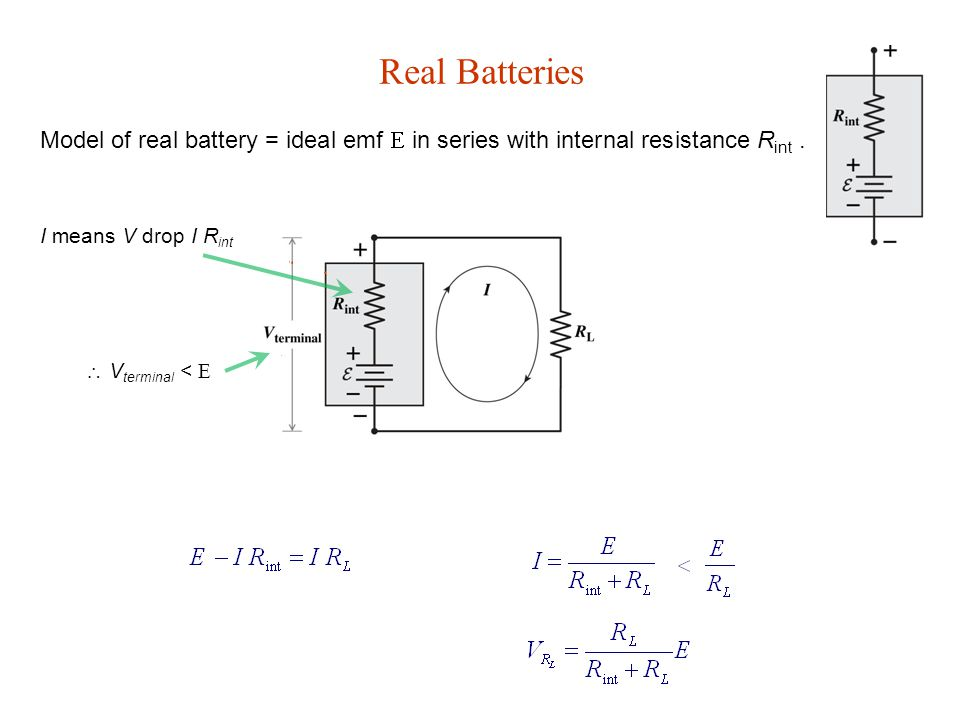 Real Batteries Model of real battery = ideal emf E in series with internal resistance R int.
