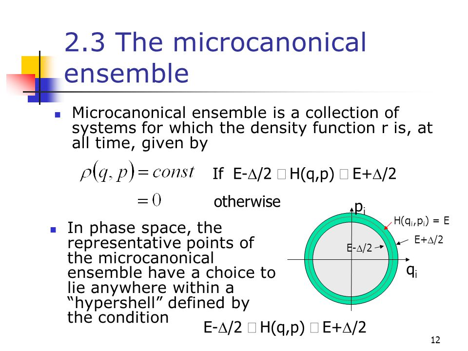 12 2.3 The microcanonical ensemble Microcanonical ensemble is a collection of systems for which the density function r is, at all time, given by If E-