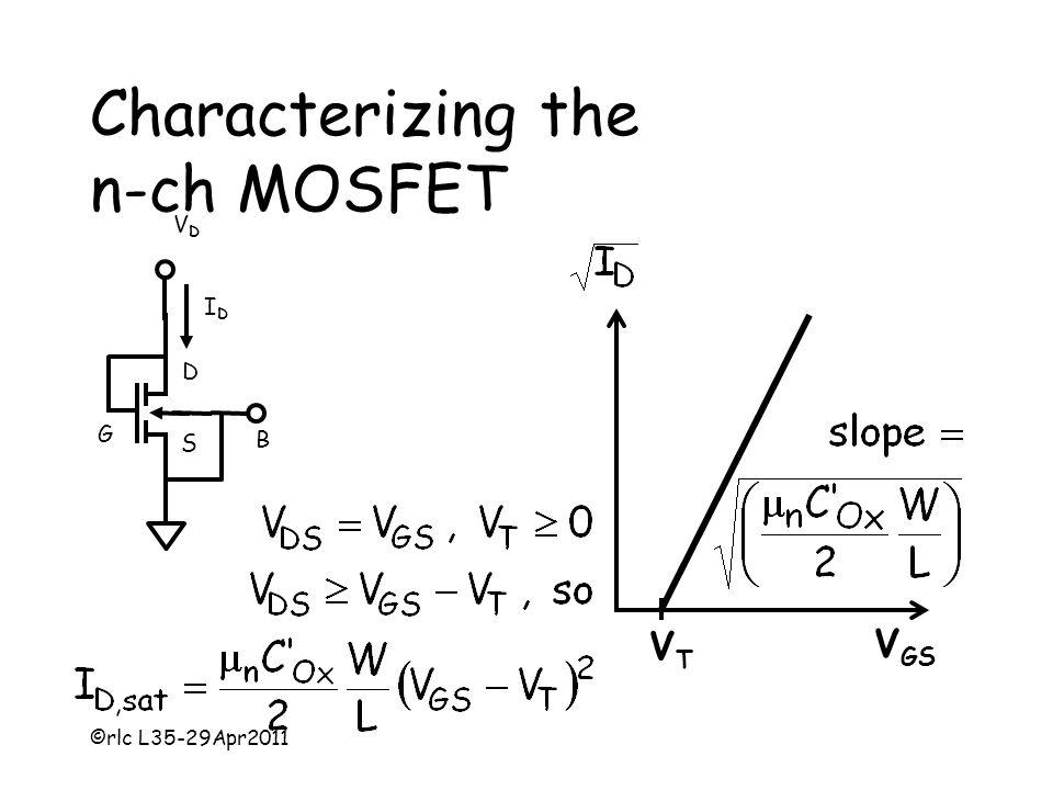 ©rlc L35-29Apr2011 Characterizing the n-ch MOSFET VDVD IDID D S G B V GS VTVT