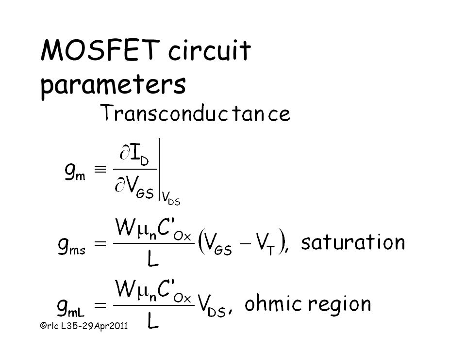 ©rlc L35-29Apr2011 MOSFET circuit parameters