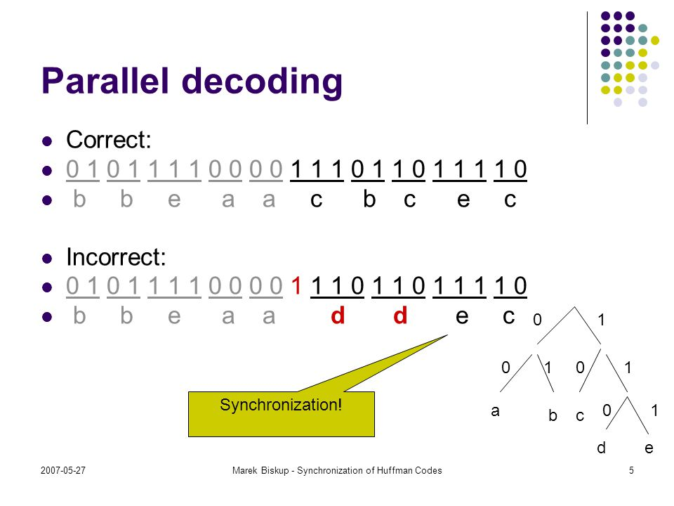 2007-05-27Marek Biskup - Synchronization of Huffman Codes5 Parallel decoding Correct: 0 1 0 1 1 1 1 0 0 0 0 1 1 1 0 1 1 0 1 1 1 1 0 b b e a a c b c e