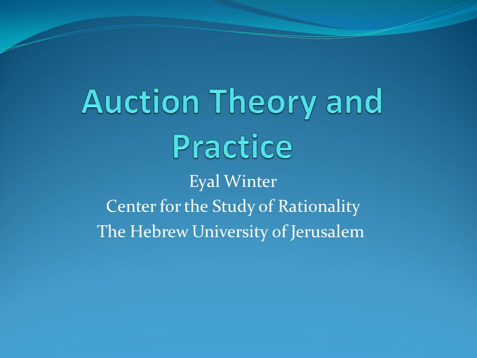 Eyal Winter Center for the Study of Rationality The Hebrew University of Jerusalem