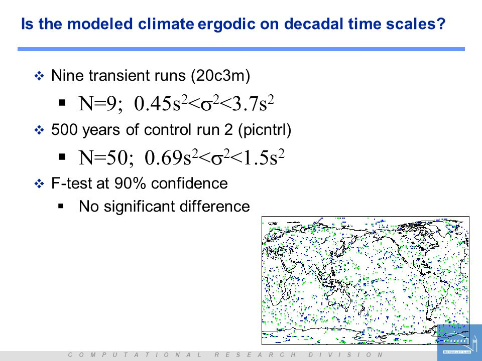 C O M P U T A T I O N A L R E S E A R C H D I V I S I O N Is the modeled climate ergodic on decadal time scales.