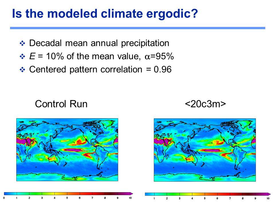 C O M P U T A T I O N A L R E S E A R C H D I V I S I O N Is the modeled climate ergodic?  Decadal mean annual precipitation  E = 10% of the mean va