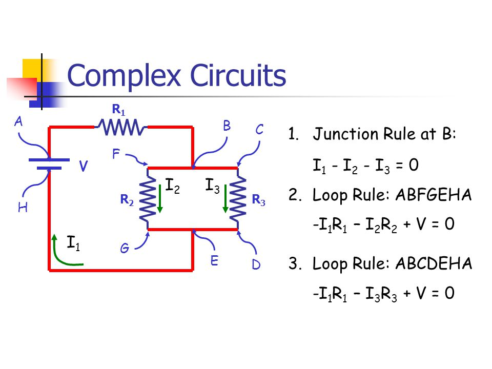 Complex Circuits R1R1 R2R2 V R3R3 I1I1 I2I2 I3I3 A B C D E F G H 1.Junction Rule at B: I 1 - I 2 - I 3 = 0 2.Loop Rule: ABFGEHA -I 1 R 1 – I 2 R 2 + V = 0 3.Loop Rule: ABCDEHA -I 1 R 1 – I 3 R 3 + V = 0