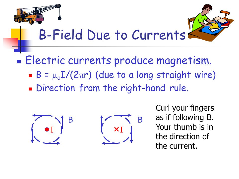 B-Field Due to Currents Electric currents produce magnetism.