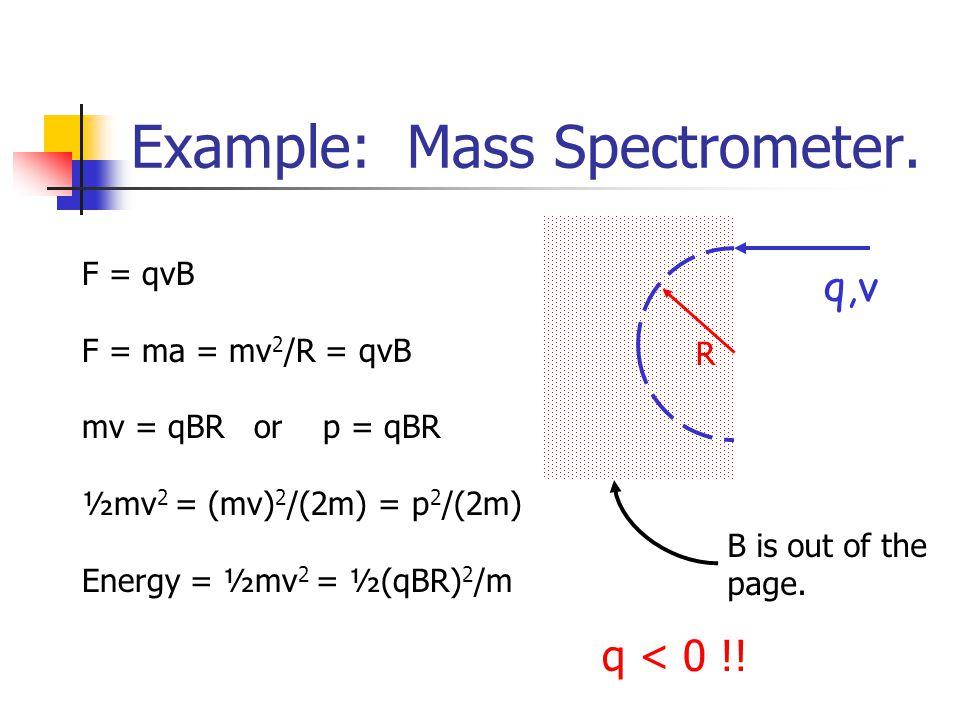 Example: Mass Spectrometer. F = qvB F = ma = mv 2 /R = qvB mv = qBR or p = qBR ½mv 2 = (mv) 2 /(2m) = p 2 /(2m) Energy = ½mv 2 = ½(qBR) 2 /m R q,v B i