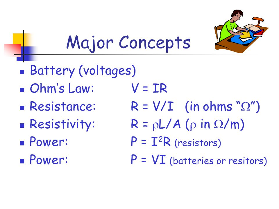 Major Concepts Battery (voltages) Ohm's Law: V = IR Resistance:R = V/I (in ohms  ) Resistivity:R =  L/A (  in  /m) Power:P = I 2 R (resistors) Power:P = VI (batteries or resitors)