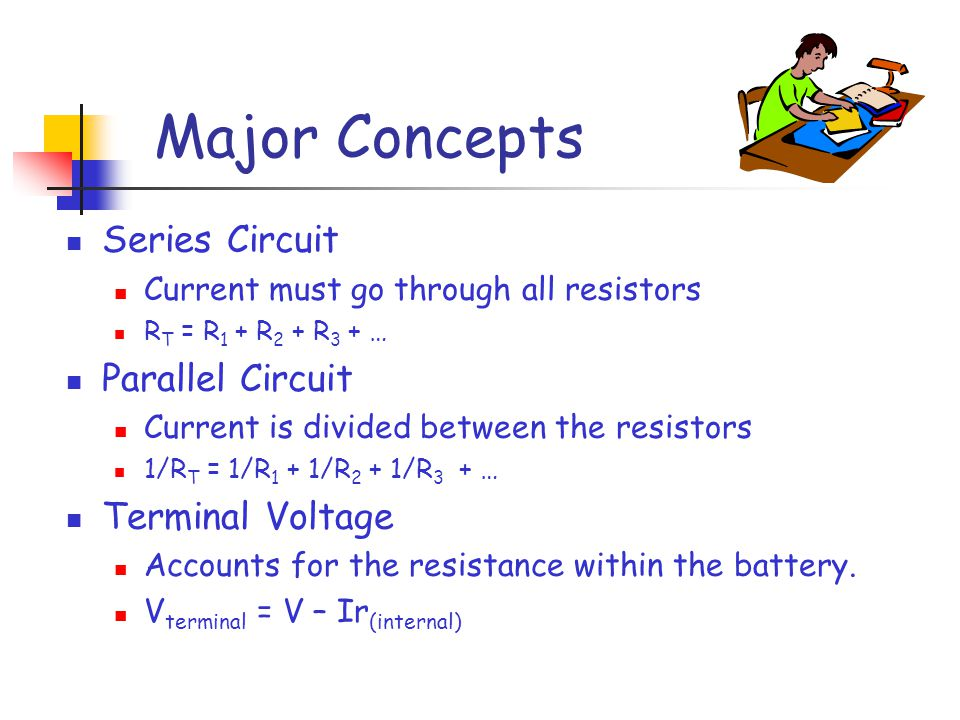 Major Concepts Series Circuit Current must go through all resistors R T = R 1 + R 2 + R 3 + … Parallel Circuit Current is divided between the resistors 1/R T = 1/R 1 + 1/R 2 + 1/R 3 + … Terminal Voltage Accounts for the resistance within the battery.