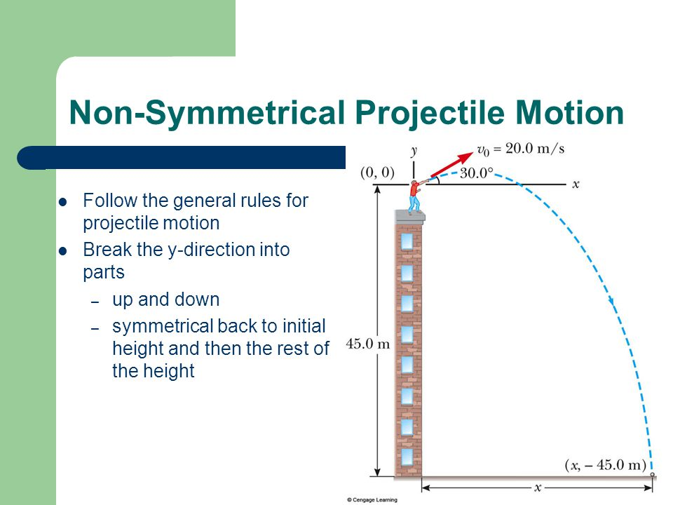 Non-Symmetrical Projectile Motion Follow the general rules for projectile motion Break the y-direction into parts – up and down – symmetrical back to