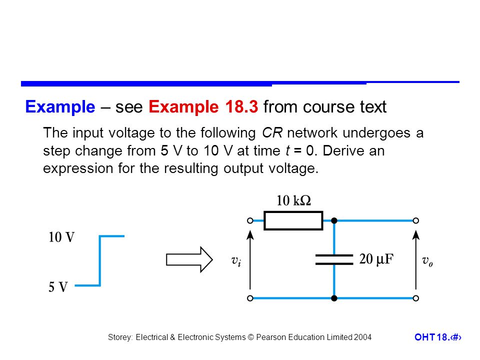 Storey: Electrical & Electronic Systems © Pearson Education Limited 2004 OHT 18.15 Example – see Example 18.3 from course text The input voltage to the following CR network undergoes a step change from 5 V to 10 V at time t = 0.