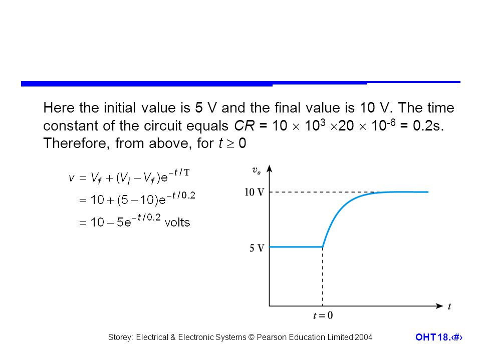 Storey: Electrical & Electronic Systems © Pearson Education Limited 2004 OHT 18.16 Here the initial value is 5 V and the final value is 10 V. The time