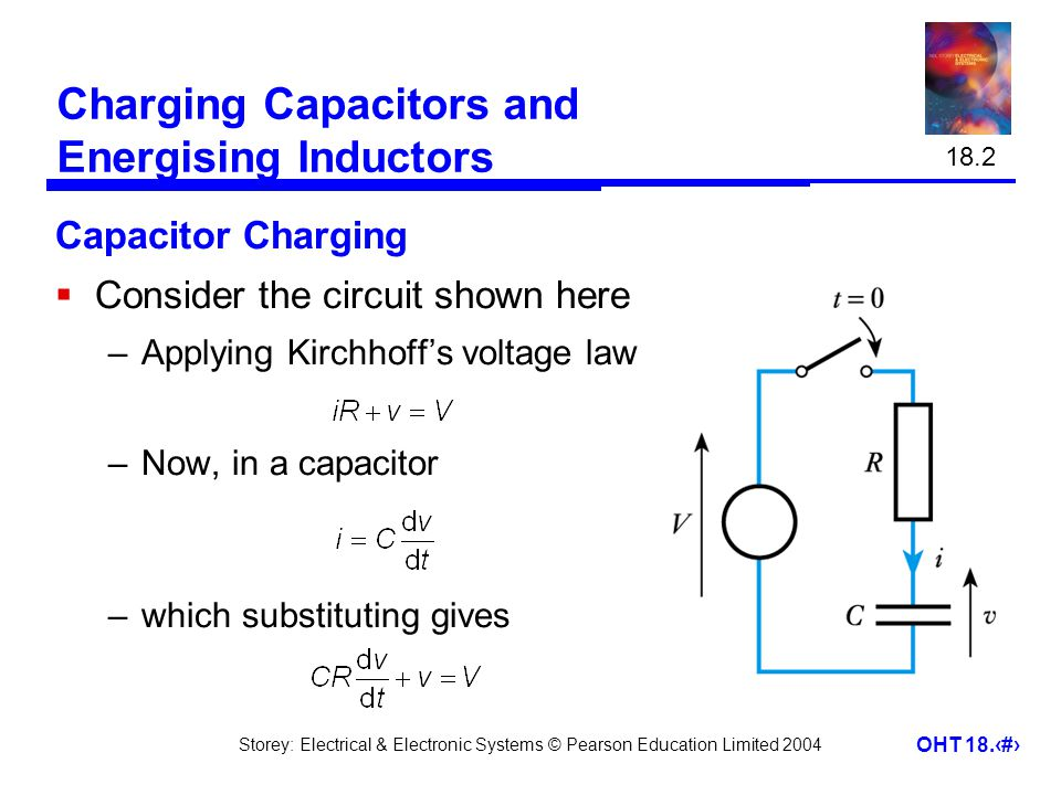 Storey: Electrical & Electronic Systems © Pearson Education Limited 2004 OHT 18.3 Charging Capacitors and Energising Inductors Capacitor Charging  Consider the circuit shown here –Applying Kirchhoff's voltage law –Now, in a capacitor –which substituting gives 18.2