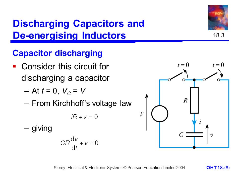 Storey: Electrical & Electronic Systems © Pearson Education Limited 2004 OHT 18.8 Discharging Capacitors and De-energising Inductors Capacitor discharging  Consider this circuit for discharging a capacitor –At t = 0, V C = V –From Kirchhoff's voltage law –giving 18.3