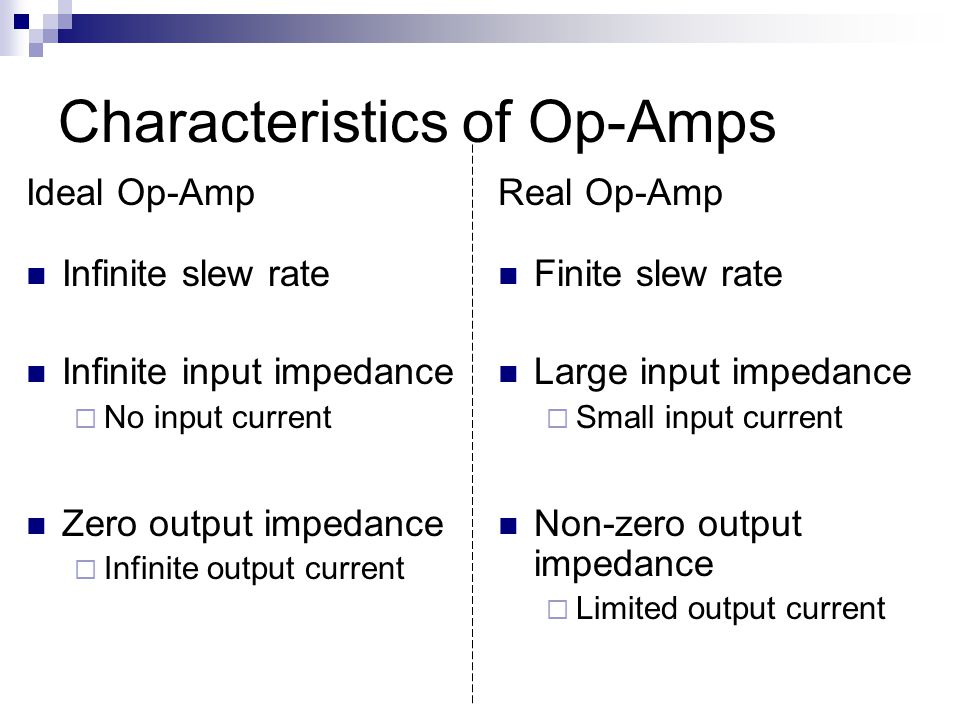 Characteristics of Op-Amps Ideal Op-Amp Infinite slew rate Infinite input impedance  No input current Zero output impedance  Infinite output current Real Op-Amp Finite slew rate Large input impedance  Small input current Non-zero output impedance  Limited output current