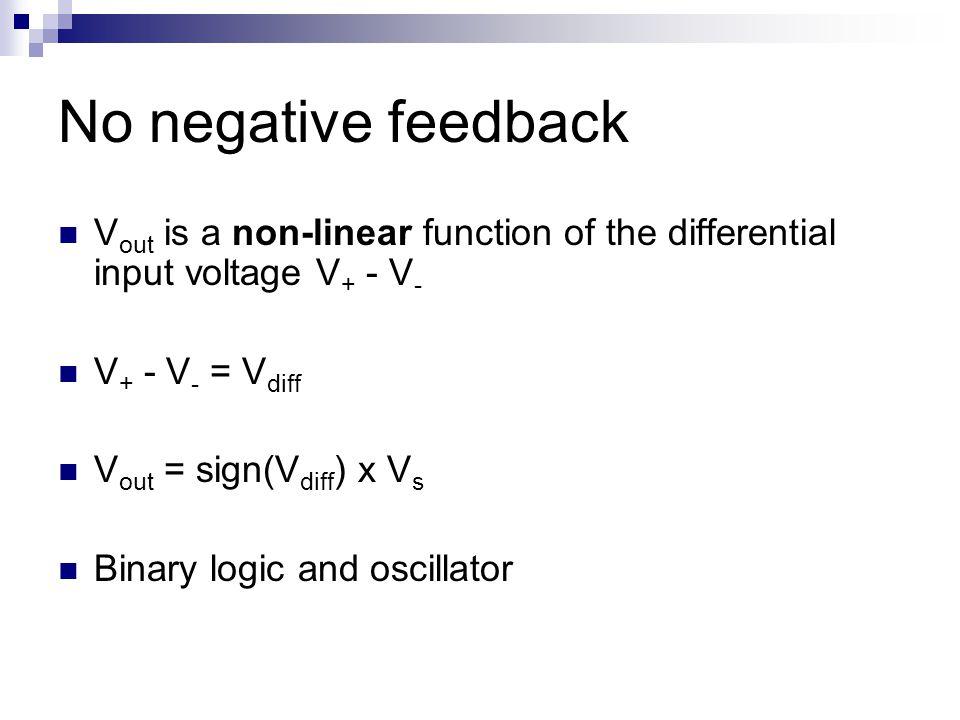 No negative feedback V out is a non-linear function of the differential input voltage V + - V - V + - V - = V diff V out = sign(V diff ) x V s Binary logic and oscillator