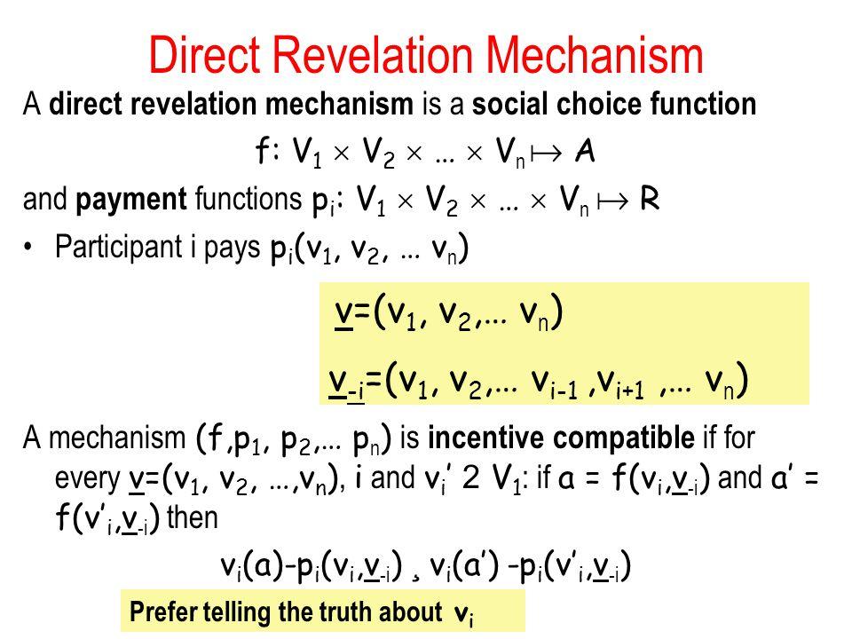 Direct Revelation Mechanism A direct revelation mechanism is a social choice function f: V 1  V 2  …  V n  A and payment functions p i : V 1  V 2