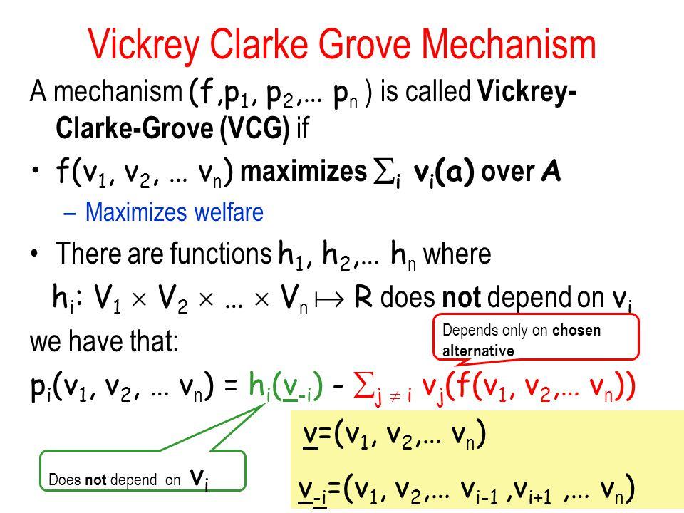 Vickrey Clarke Grove Mechanism A mechanism (f,p 1, p 2,… p n ) is called Vickrey- Clarke-Grove (VCG) if f(v 1, v 2, … v n ) maximizes  i v i (a) over