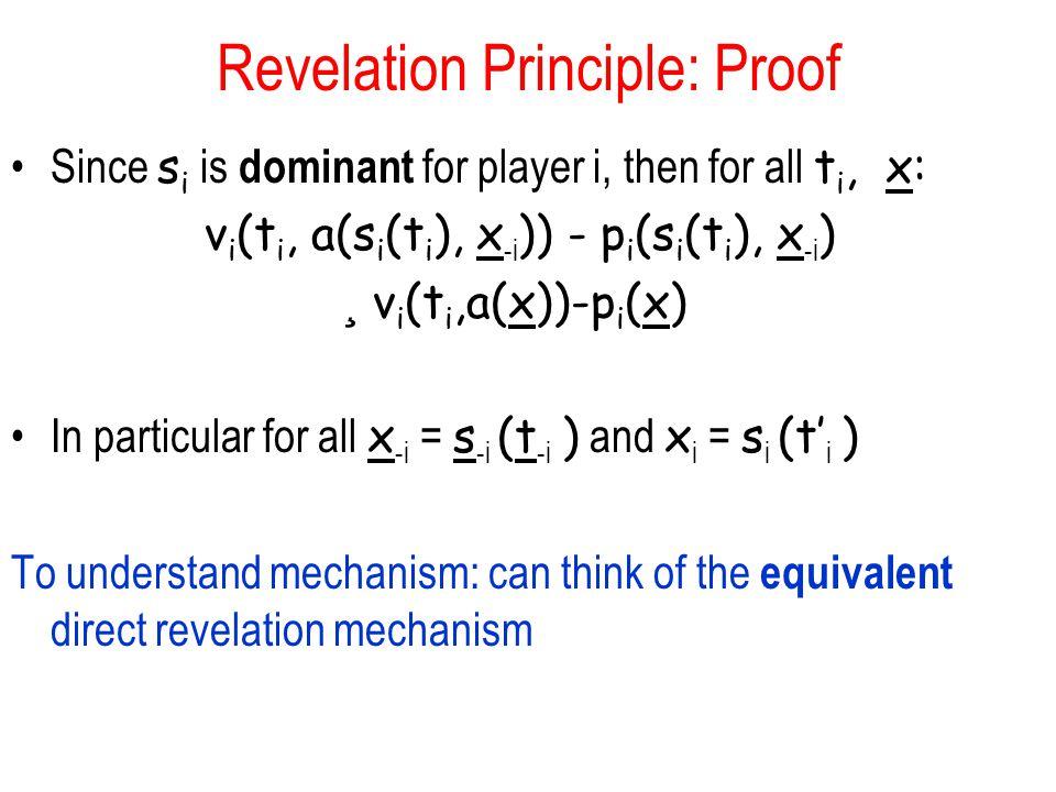 Revelation Principle: Proof Since s i is dominant for player i, then for all t i, x: v i (t i, a(s i (t i ), x -i )) - p i (s i (t i ), x -i ) ¸ v i (