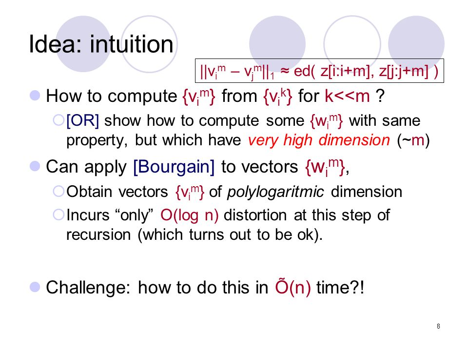8 Idea: intuition How to compute {v i m } from {v i k } for k<<m .