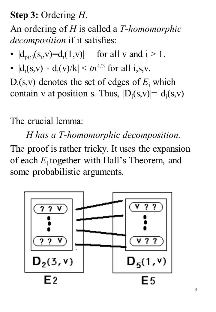 8 Step 3: Ordering H. An ordering of H is called a T-homomorphic decomposition if it satisfies: |d p(i) (s i,v)=d i (1,v)| for all v and i > 1. |d i (
