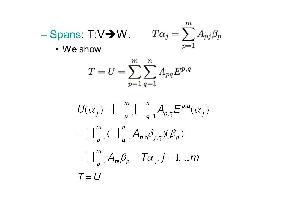 –Spans: T:V  W. We show