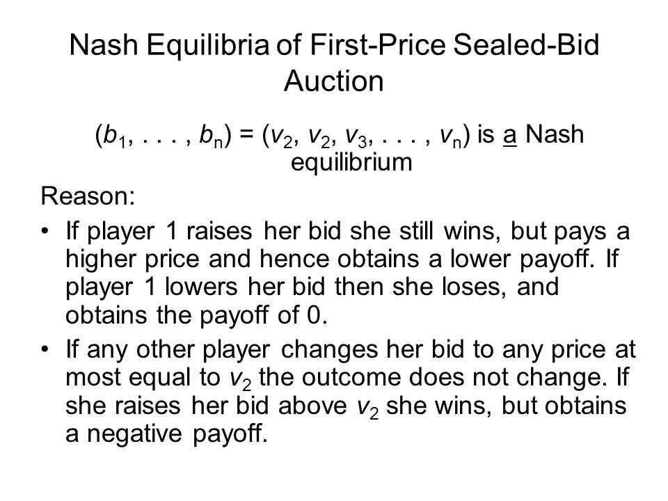 Nash Equilibria of First-Price Sealed-Bid Auction (b 1,..., b n ) = (v 2, v 2, v 3,..., v n ) is a Nash equilibrium Reason: If player 1 raises her bid she still wins, but pays a higher price and hence obtains a lower payoff.