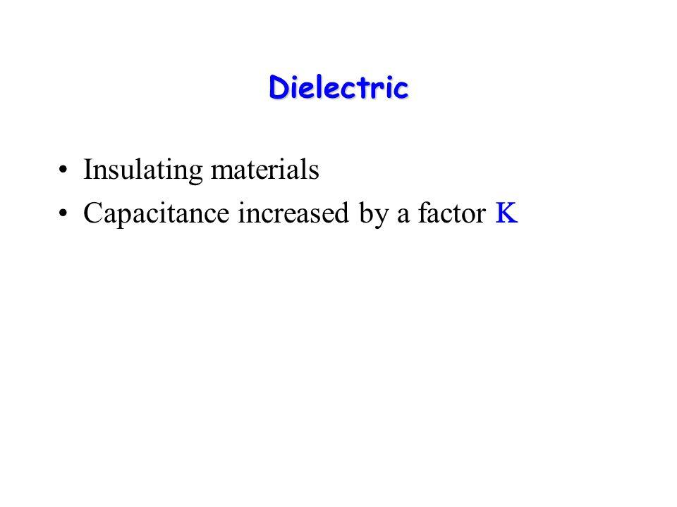 Dielectric Constant, K Dielectric Constant, K A measure of how effective it is in reducing an electric field across the plates Q-Q V o C o =Q/V o Q-Q + + + V=V o /K C=Q/V=KQ/V o =KC o