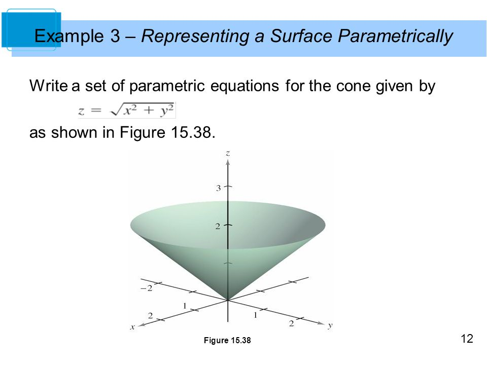 12 Write a set of parametric equations for the cone given by as shown in Figure 15.38. Example 3 – Representing a Surface Parametrically Figure 15.38
