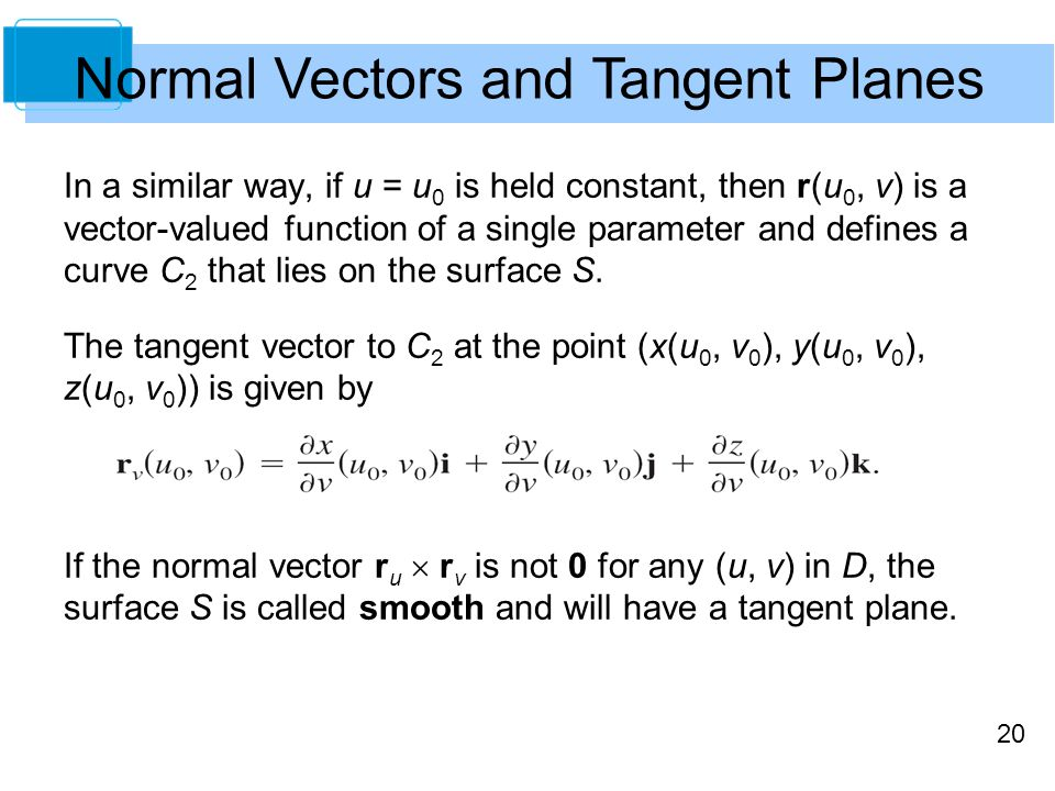 20 In a similar way, if u = u 0 is held constant, then r(u 0, v) is a vector-valued function of a single parameter and defines a curve C 2 that lies o