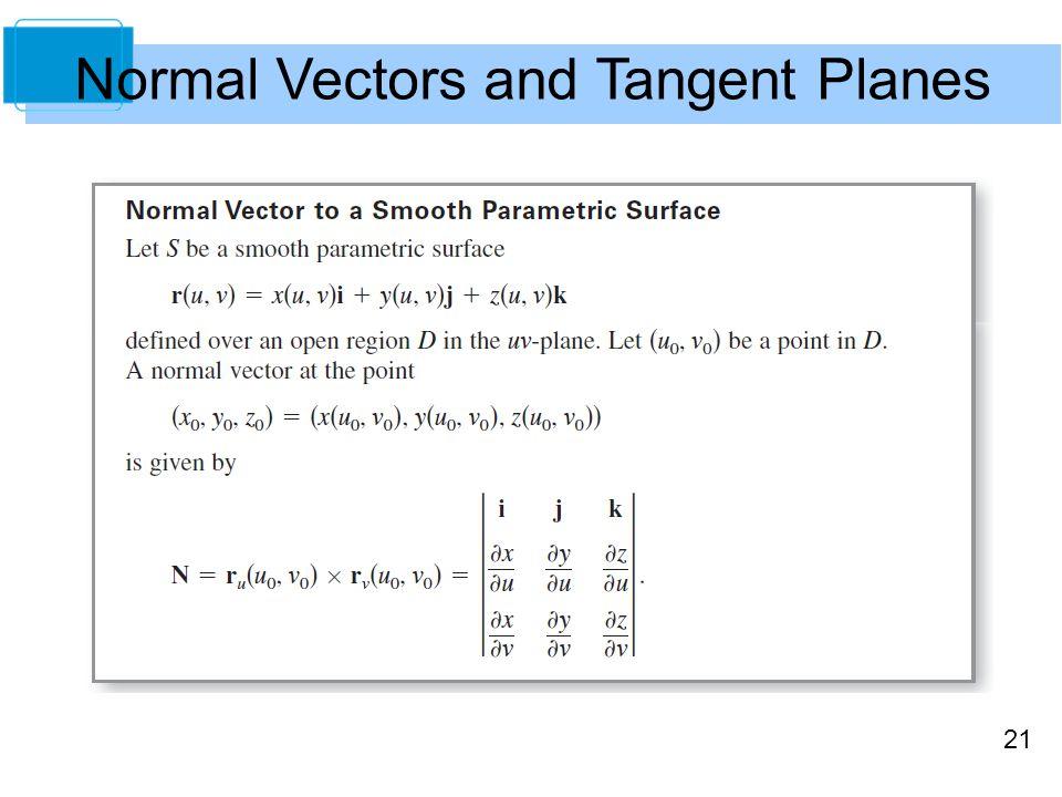 21 Normal Vectors and Tangent Planes