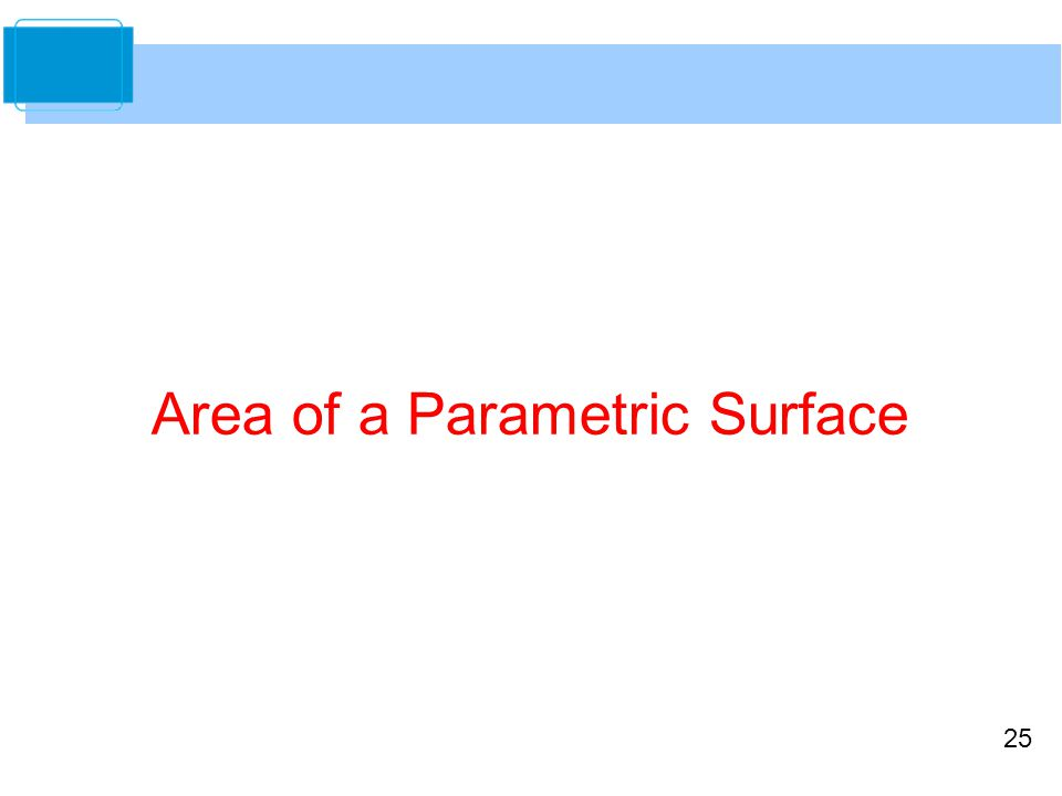 25 Area of a Parametric Surface