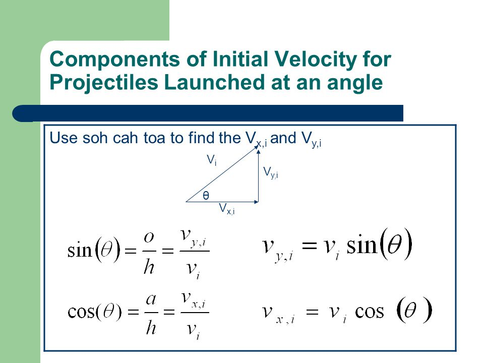 Components of Initial Velocity for Projectiles Launched at an angle Use soh cah toa to find the V x,i and V y,i ViVi V x,i V y,i θ