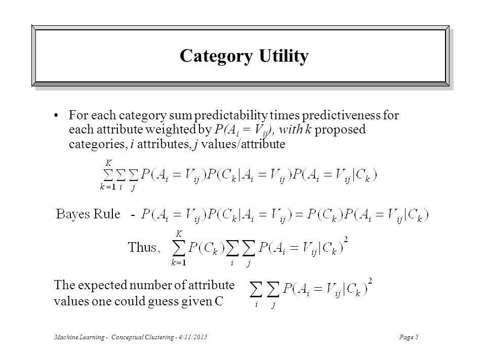 Machine Learning - Conceptual Clustering - 4/11/2015Page 5 Category Utility For each category sum predictability times predictiveness for each attribute weighted by P(A i = V ij ), with k proposed categories, i attributes, j values/attribute The expected number of attribute values one could guess given C