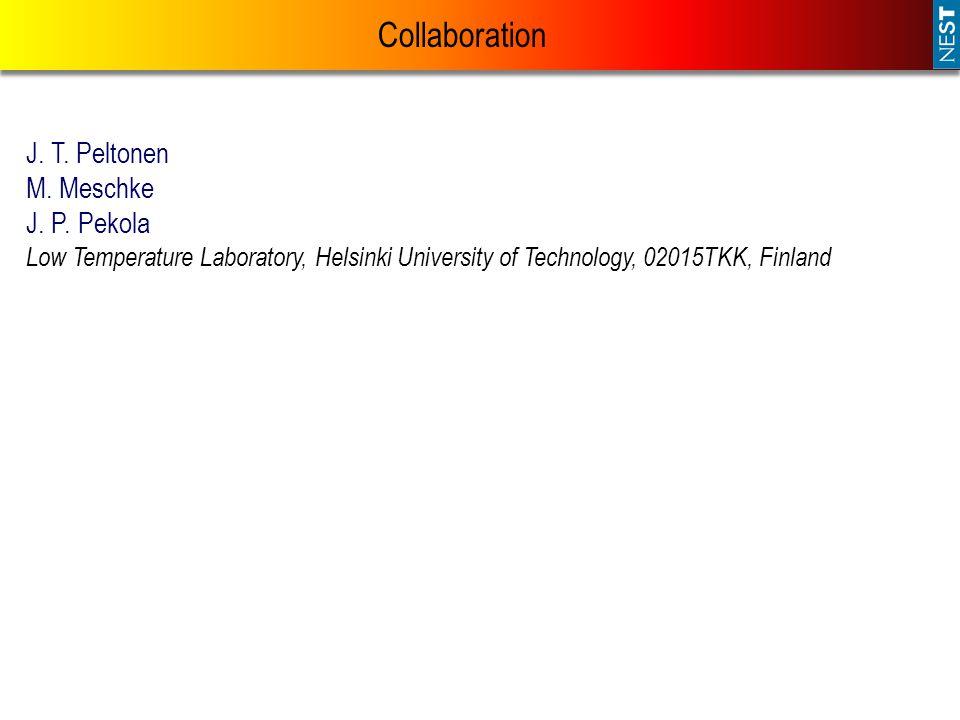 Collaboration J. T. Peltonen M. Meschke J. P. Pekola Low Temperature Laboratory, Helsinki University of Technology, 02015TKK, Finland