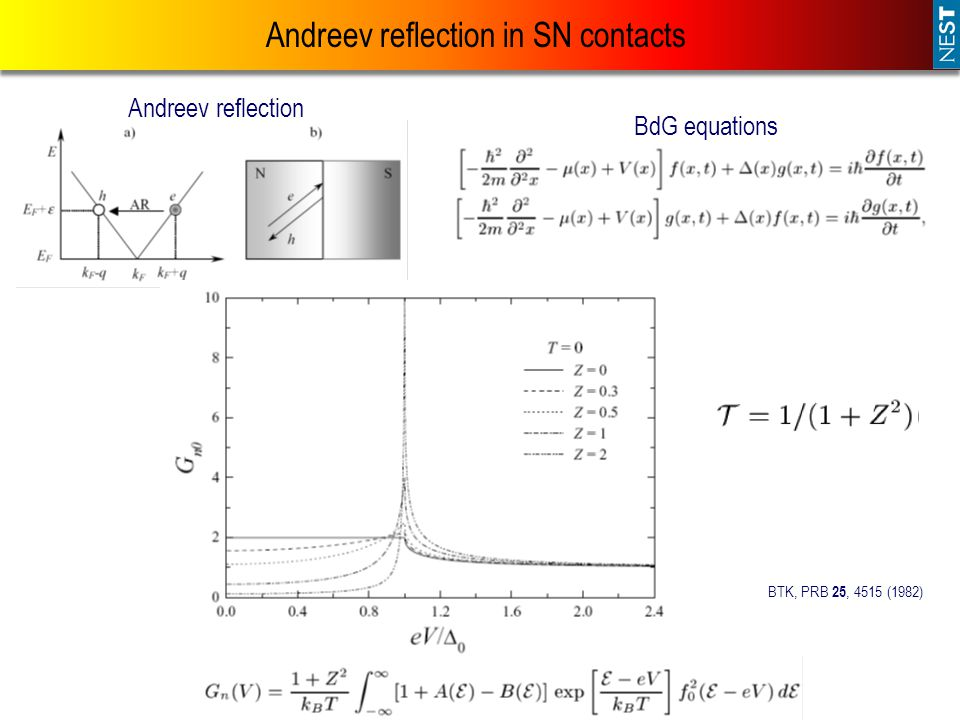 Andreev reflection in SN contacts BdG equations Andreev reflection BTK, PRB 25, 4515 (1982)