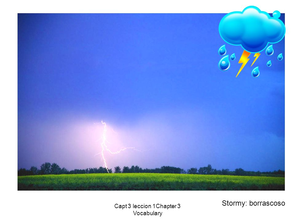 Capt 3 leccion 1Chapter 3 Vocabulary Stormy: borrascoso