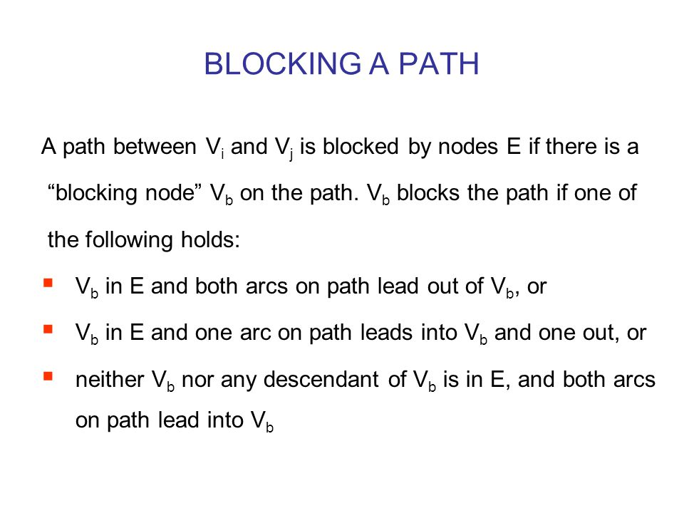 """BLOCKING A PATH A path between V i and V j is blocked by nodes E if there is a """"blocking node"""" V b on the path. V b blocks the path if one of the foll"""