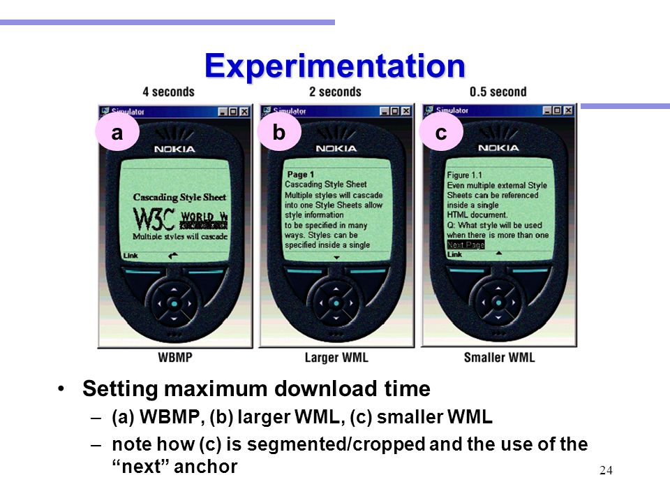 24 Experimentation Setting maximum download time –(a) WBMP, (b) larger WML, (c) smaller WML –note how (c) is segmented/cropped and the use of the next anchor acb