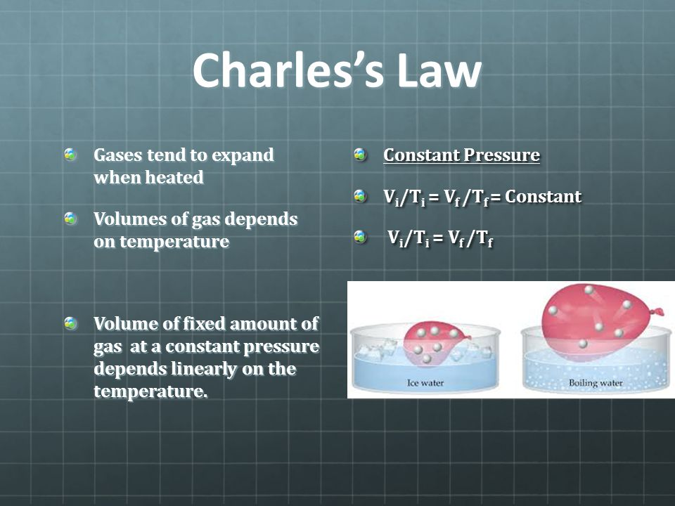 Charles's Law Gases tend to expand when heated Volumes of gas depends on temperature Volume of fixed amount of gas at a constant pressure depends line