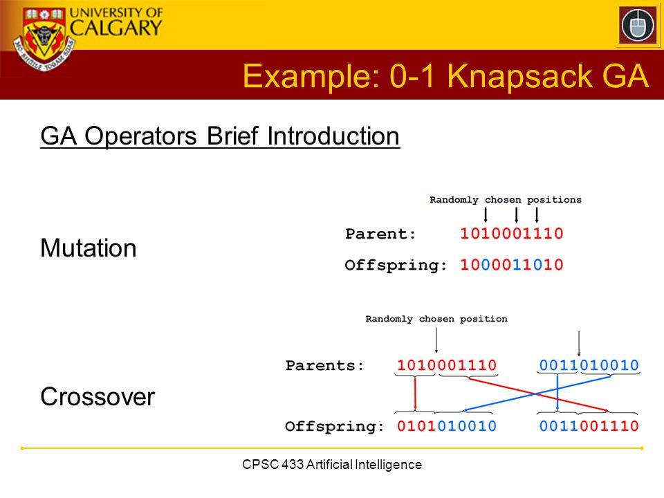 CPSC 433 Artificial Intelligence Example: 0-1 Knapsack GA GA Operators Brief Introduction Mutation Crossover