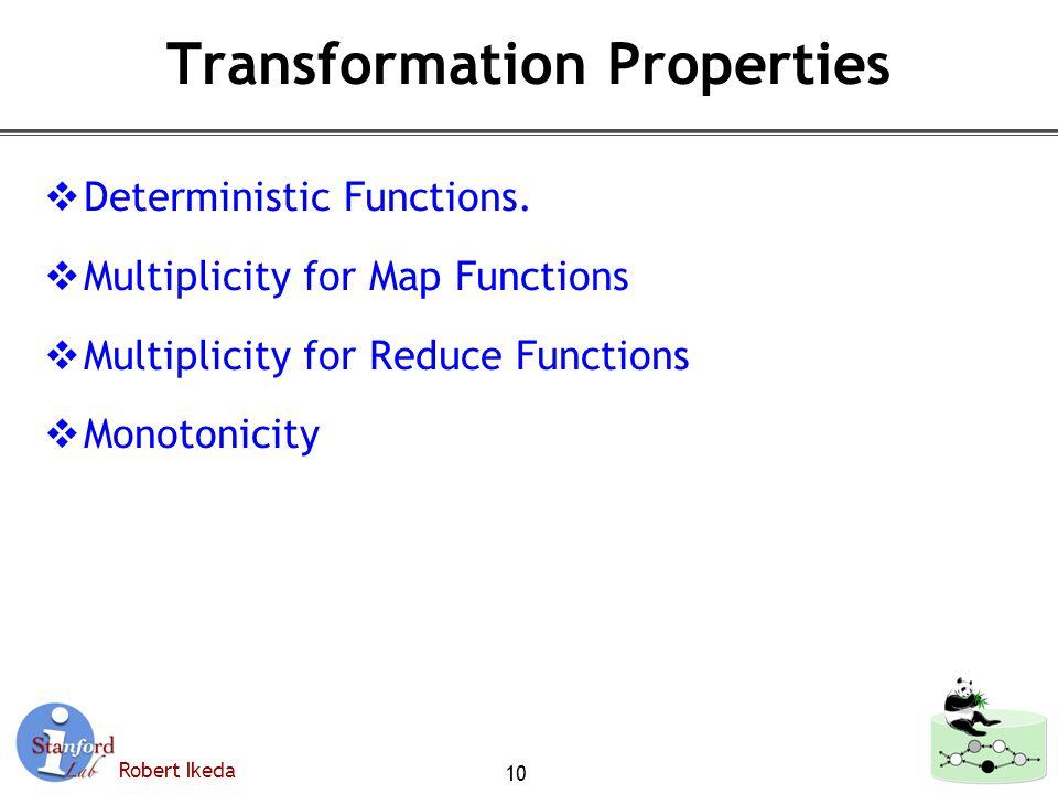 Robert Ikeda Transformation Properties  Deterministic Functions.