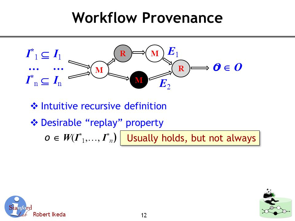 Robert Ikeda Workflow Provenance  Intuitive recursive definition  Desirable replay property o  W(I * 1,…, I * n ) 12 M M R MR Usually holds, but not always o  Oo  O I*1 I*1  I*n I*n  InIn I1I1 E1E1 E2E2 … … O