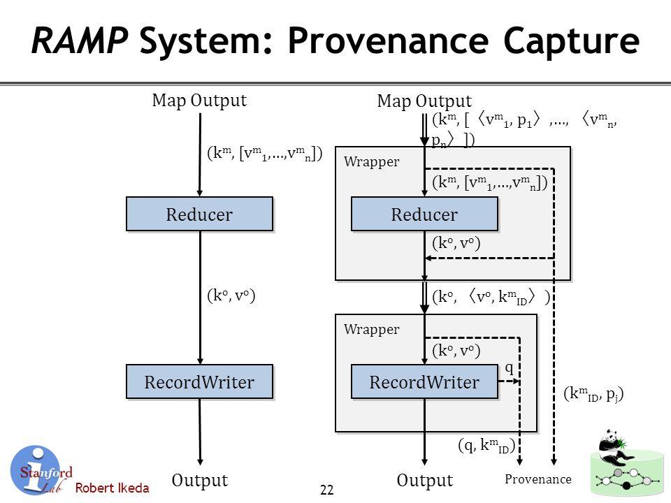 Robert Ikeda RAMP System: Provenance Capture 22 Reducer RecordWriter (k o, v o ) Map Output Output (k m, [v m 1,…,v m n ]) Wrapper Reducer (k o, v o ) RecordWriter (k o, 〈 v o, k m ID 〉 ) (k o, v o ) (k m, [v m 1,…,v m n ]) (k m, [ 〈 v m 1, p 1 〉,…, 〈 v m n, p n 〉 ]) Map Output Output (k m ID, p j ) (q, k m ID ) Provenance q